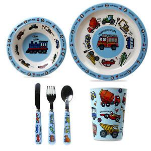 6pcs Kids Melamine Vehicles Design Breakfast Dinner Cutlery Set Cup Bowl Plate