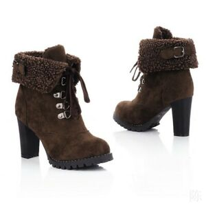 Winter Fashion Womens Thick Heel Lace-Up Warm Fleece Lined Ankle Boots Oversized