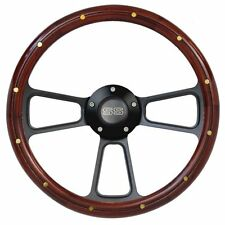 "Nova ""SS"" Mahogany Wood Steering Wheel w/ Black SS Horn & Black Adapter  14"""
