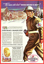 1943 WWII Ad ~ GENERAL TIRE Rubber ~ Save Your Tires ~ Civil Defense Guard