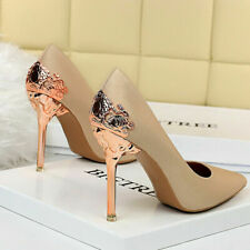 Women's Classic Fashion Pointed Toe Metal Heel Dress Party Stilettos Pumps Shoes