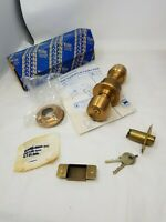 Vintage YALE Cylindrical Lock  Brass finish NOS Hardware midcentury lock & keys
