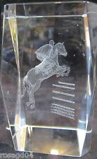 3D Laser Etched Jockey/Horse Figurine Jump Over Fence Glass Crystal Paperweight