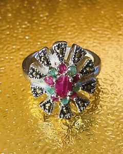 NEW REAL RUBY-EMERALD-MARCASITE STERLING SILVER RHODIUM PLATED SIZE 7/TCW 41