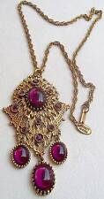 MIRIAM HASKELL Vintage Necklace Purple Amethyst Cabochons Russian Gold Filigree