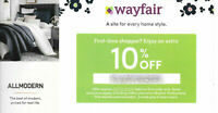 WAYFAIR 10% Off on First Order Coupon + No Shipping Expires 12/31/20 - FAST SEND