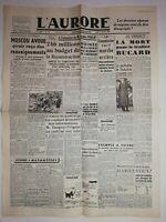 N1225 La Une Du Journal L'aurore 21 février 1946 Moscou avoue