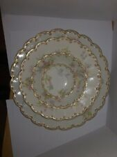 Theodore Havilland Limoges 7 piece place setting rose pattern gold trim