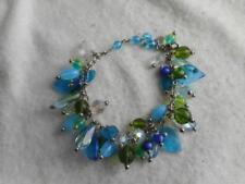 """Joan Rivers 9"""" silver chain bracelet & blue green & clear glass bead dangles"""