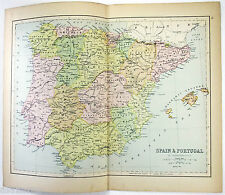 Original Map of Spain & Portugal by J. Bartholomew 1877