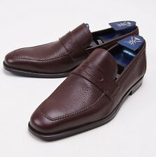NIB $950 SUTOR MANTELLASSI Brown Deerskin Leather Penny Loafers US 7 D Shoes