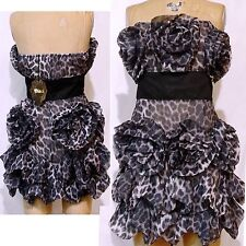 NWT Black Collect. L Purple Blk Leopard Dress Ruffle Roses Sexy Salsa Strapless