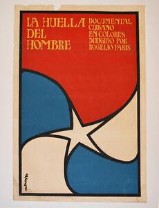 1986 Cuban Original Silkscreen Movie Poster.Footprint of Men.Huella del hombre.