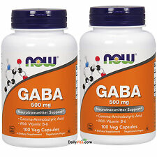 2 bottles NOW Foods GABA 500 mg+B-6 2mg - 100 Caps, Made In USA FREE US SHIPPING