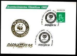 Sobre entero postales Barnafil 95 panda WWF grabado oro Edifil 27 matasellado