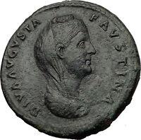 FAUSTINA I Sr Antoninus Pius Wife Sestertius Authentic Ancient Roman Coin i60705