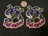 """(2) UNIVERSITY OF FLORIDA GATORS VINTAGE EMBROIDERED IRON ON PATCHES 3.5"""" x 3"""