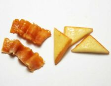 5 Mixed Dollhouse Miniature Bacon & Toast * Doll Mini Bakery Breakfast Food