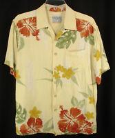 Quiksilver Silver Edition Yellow Hibiscus Floral Shirt Hawaiian Aloha Rayon Sz M
