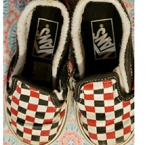 Checkerboard Vans Toddler black red white shoes 6T
