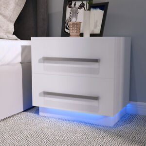 White Bedside Table Cabinet Nightstand with 2 Drawers Storage Bedroom Furniture