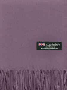 For Womens Blanket 100% Cashmere Big Scarf Shawl Solid Scotland Wool Lavender