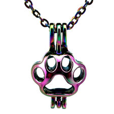 C445 Rainbow Color Kitten Cat Footprint Beads Pearl Cage Locket Pendant - Chain