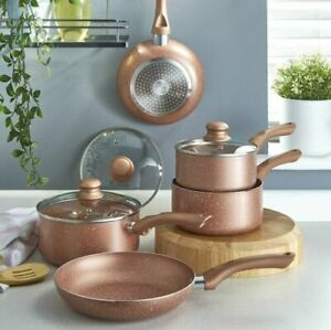 New 5-Piece Non-Stick ROSE GOLD Marble-Effect Pan Set- With Soft Touch Handles.