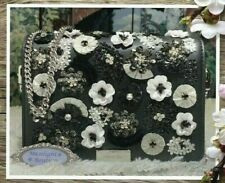 NWT Michael Kors JADE Floral Sequined MEDIUM Gusset Clutch BAG In BLACK Leather
