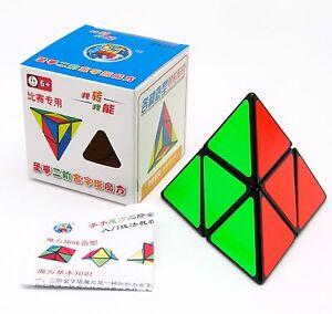 Shengshou 2X2 Pyramid  Magic Cube Twist Puzzle Speed Fun Kids Toy Gift Black