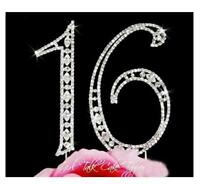 Sweet 16 Rhinestone Birthday Cake Topper Sixteen Numbers Bling Cake Decoration