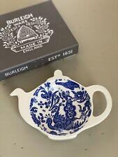 Burleigh Blue Regal Peacock Mini Tea Pot Tray Tea Bag Holder England NEW in Box