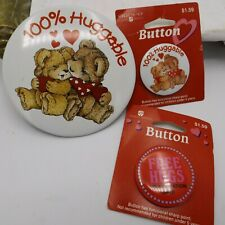 3 American Greeting Button Pin Valentines Vtg Bear 100% Huggable Heart Free Hugs