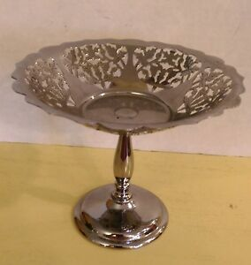 """Vintage Farber Bros. Candy/Nut Dish, Grape Pattern, 5 3/4"""" Tall, 1940s"""