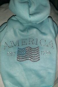 """Mirage Pet Products BLUE Dog America Hoodie SMALL 10"""" BACK Jumper BEADED CROSS"""