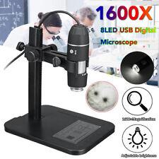 1600X 8 LED USB Digitale Microscopio Endoscopio Magnifier Camera Video +Supporto
