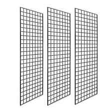 Grid Wall Panels Retail Display 72 X 24 In Double Wires Designed Black 3pck