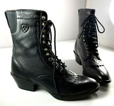 Ariat Lace Up Boot Womens Black Leather Kiltie Shoes Size 6 B Style 15870