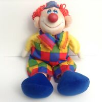 Vintage Commonwealth Toy Circus Clown 22 Inch Plush Doll 1992 Bow Tie Overalls