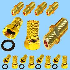 10x F-Stecker 5x F-Verbinder vergoldete Anschlüsse Sat Koaxial Kabel F-kupplung
