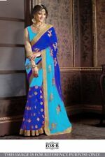 Blue Indian Bollywood Designer Georgette Saree Sequin Sari Party Wear Dress Top