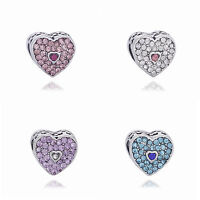 NEW Fine CZ LOVE Interval Charm Loose LUCKY Bead Fit sterling Bracelet Chain