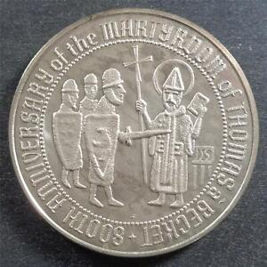 Silver 800th Anniv. Martyrdom of Thomas Becket Canterbury Archbishop, 27 grams