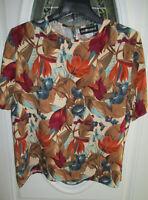 Sag Harbor Blouse ~ Top Women's Large Short Sleeve Multi Color Floral Print