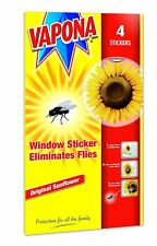 PACK OF 4 VAPONA FLY KILLER WINDOW SUNFLOWER STICKERS ELIMINATES FLIES