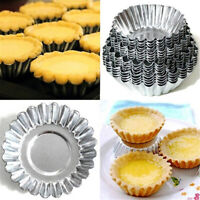 HK- 10pcs Egg Tart Aluminum Cupcake Cake Cookie Mold Lined Mould Tin Baking Tool