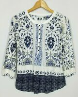 Lucky Brand Women's Small 3/4 Sleeve Boho Knit Top Shirt