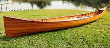 Cedar Wood Strip Built Canoe Wooden Boat 18' w/ Ribs Woodenboat Usa