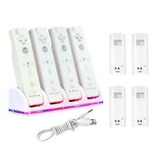 Blanc 4 Port Charge Station avec 4pcs batteries Pour NINTENDO Wii REMOTE Manette