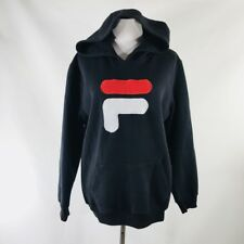 Vintage 90s FILA All Embroidered Black Hooded Sweatshirt Size Mens Small